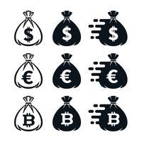 Icone del sacchetto dei soldi con i simboli di valuta vettore