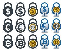 Icone lucchetto con valute vettore
