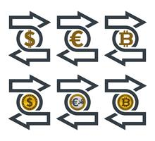 Cambia icone con le valute vettore