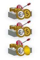 Varie monete, banconote, schede target e simboli freccia