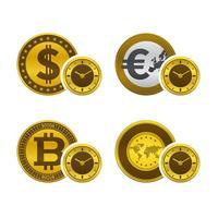Quadranti di orologio con valute vettore