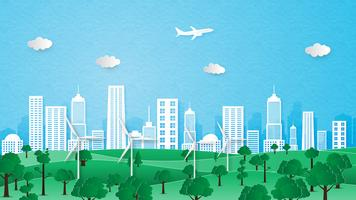 Paesaggio urbano di ecologia e concetto di conservazione dell'ambiente. vettore