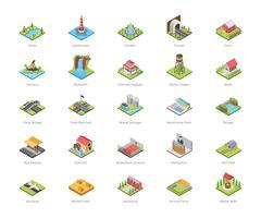 Icone di architettura e attività ricreative vettore