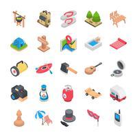 Pack di icone piatte campeggio e vacanze vettore