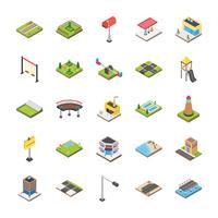 Insieme dell'icona degli elementi suburbani e di paesaggio urbano vettore