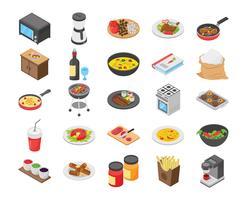 Pack di icone piane di cibo cibo