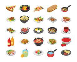 Icone piane di cucina e cibo vettore