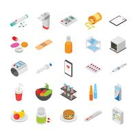 Controllo del diabete e altre icone mediche impostate vettore