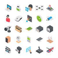 Icone piane di gioco e tecnologia