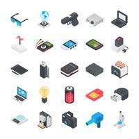 Tecnologia e altri oggetti Set di icone piatte vettore
