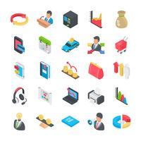 Collezione di icone piane di affari vettore