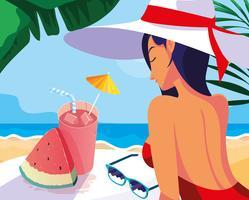 donna con cocktail sulla spiaggia vettore