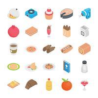Icone di elementi di cibo e cucina vettore