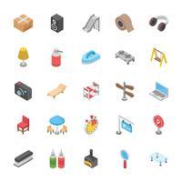 Set di icone di oggetti domestici vettore