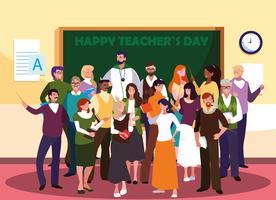 felice giornata dell'insegnante con un gruppo di insegnanti vettore