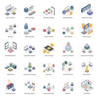 Icone isometriche di Bitcoin e criptovaluta vettore