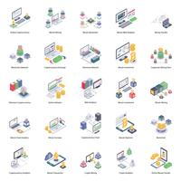 Pack di icone Bitcoin e pagamento digitale vettore
