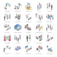 Set di icone di coaching aziendale vettore
