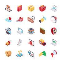 Set di icone piane dello shopping online vettore