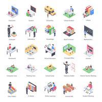 Pacchetto di icone isometriche di bambini e scuola insegnante