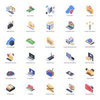 Icone di sicurezza informatica e crittografia vettore
