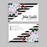 Biglietto da visita floreale dell'acquerello con strisce