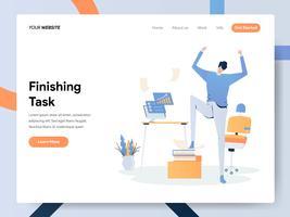 Modello della pagina di destinazione del concetto di Finishing Task Illustration dell'uomo d'affari vettore