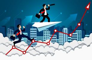 Concorrenza dell'uomo d'affari sulla freccia fino al cielo
