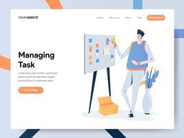 Modello della pagina di destinazione dell'uomo d'affari Managing Task On Board