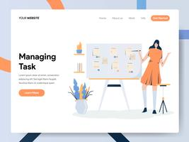 Modello della pagina di destinazione di Businesswoman Managing Task On Board vettore