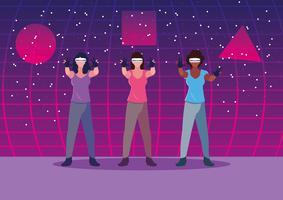 Donne che usano la tecnologia della realtà aumentata vettore