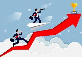 Concorrenza dell'uomo d'affari su una freccia rossa in nuvole