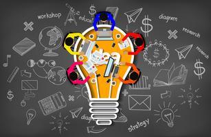 Riunione d'affari con l'ispirazione di creatività che progetta concetto dell'icona della lampadina