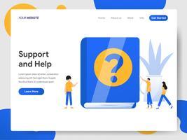 Modello della pagina di destinazione del concetto dell'illustrazione di aiuto e di sostegno