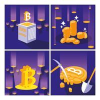 set di bitcoin di cripto mining vettore