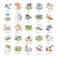 Icone isometriche di concetto di assicurazione vettore