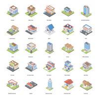 Pack di icone isometriche di edifici