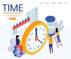 Concetto di layout di gestione del tempo Pagina di destinazione vettore