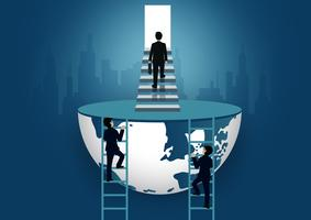 Gli uomini d'affari salgono le scale verso la porta. salire la scala per raggiungere l'obiettivo di successo nella vita e i progressi nel lavoro. della più alta organizzazione. concetto di finanza aziendale. icona. illustrazione vettoriale del mon
