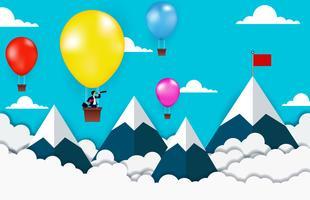 Uomo d'affari che sta sulla mongolfiera che guarda all'obiettivo di affari