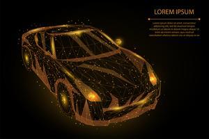 Auto moto poligonale oro vettore
