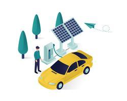 illustrazione isometrica del pannello solare vettore