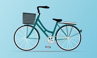 Bicicletta in stile vintage con cestino vettore