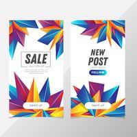 Set di storie instagram geometriche di vendita