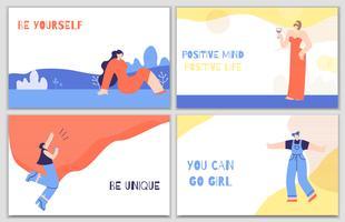 Set poster di motivazione donna con stimolo giornaliero vettore