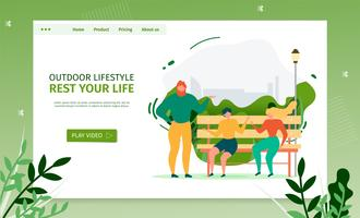 Pagina di destinazione per attività all'aperto e comunicazione