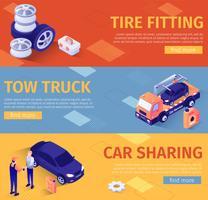 Set di banner per assistenza auto e montaggio pneumatici vettore