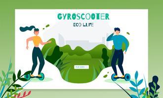 Modello dell'insegna dell'iscrizione di vita di Gyroscooter Eco vettore