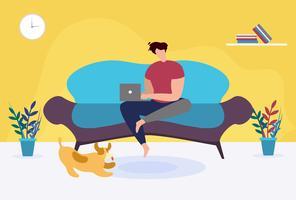 Uomo con il computer portatile che si siede sul sofà a casa fumetto