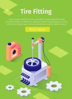 Poster di testo con complesso di montaggio isometrico della gomma vettore